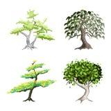 Un ensemble isométrique d'arbres et de centrales verts illustration stock