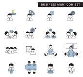 Un ensemble simple de gestion d'homme d'affaires et icône de vecteur de travail d'équipe sur le fond blanc, conception plate mign illustration stock
