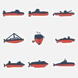 Un ensemble tiré par la main de sous-marins de chemins Illustration de vecteur Photographie stock
