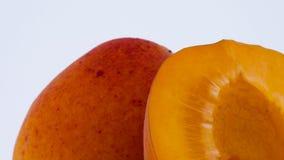 Un entier et un demi- de fruit d'abricot Rotation sur la plaque tournante D'isolement sur le fond blanc Plan rapproché Macro banque de vidéos