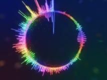 Un equalizador multicolor colorido detallado en un círculo Espectro audio Foto de archivo