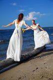 Un'equilibratura delle due spose fotografia stock libera da diritti