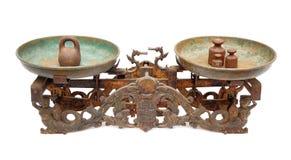 Un equilibrio di due vaschette antico Fotografie Stock Libere da Diritti