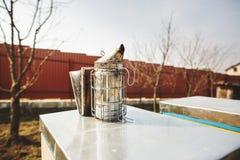 Un equipo de base de la apicultura - fumador de la abeja - en el top de la colmena de la abeja en un día de primavera Cierre para imagenes de archivo