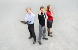 Un equipo del negocio en la calle Foto de archivo libre de regalías