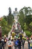 Un escalier à la statue de Tian Tan Bouddha (grand Bouddha), Hong Kong images stock