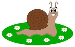 Un escargot heureux dans un jardin Photo libre de droits