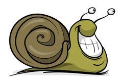 Un escargot vert heureux image stock