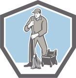 Un escudo más limpio de Mopping Floor Retro del portero Imagen de archivo libre de regalías