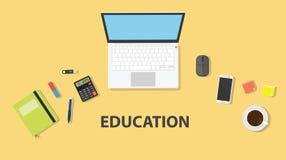Un espace de travail d'étudiant ou de travailleur avec le fond jaune sur la table avec l'ordinateur portable d'ordinateur et le l illustration stock