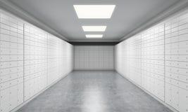 Un espacio brillante con las cajas de depósito seguro Un concepto de almacenar de documentos o de objetos de valor importantes en Imagen de archivo libre de regalías