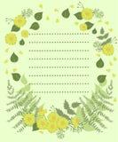 Un espacio en blanco con la decoración floral y un acto para el texto Ilustraci?n del vector ilustración del vector