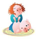 Un especialista del cerdo hace masaje al cliente hembra stock de ilustración