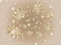Un espiral de los caramelos redondos y del chocolate con leche de las burbujas, 3D del café Imagenes de archivo