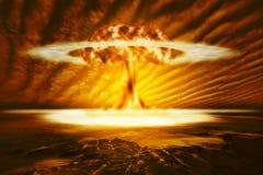 Un'esplosione moderna della bomba nucleare illustrazione vettoriale