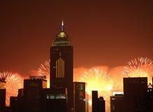 Un'esposizione cinese del 2011 fuoco d'artificio di nuovo anno Fotografia Stock