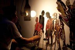 Un'esposizione di burattino malese tradizionale dell'ombra Fotografia Stock Libera da Diritti