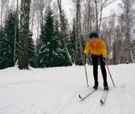 Un esquí del campo a través de la mujer joven en un bosque maravilloso fotos de archivo