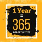 Un an est 365 occasions Citation de inspiration de motivation au sujet des possibilités Concept de typographie de vecteur sur le  Photo stock