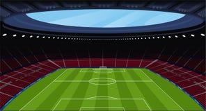 Un estadio de fútbol vacío enorme Imagen de archivo libre de regalías