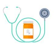 Un estetoscopio y un envase con las drogas Concepto plano de la medicina Imágenes de archivo libres de regalías