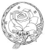 Un estilizado subió en el círculo Imagen de archivo libre de regalías