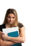 Estudiante con la libro-cintura para arriba Imagenes de archivo