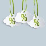 Un'etichetta di tre nuvole con i nastri Illustrazione di Stock