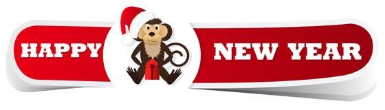 Un'etichetta rossa di Natale con la scimmia Fotografia Stock Libera da Diritti