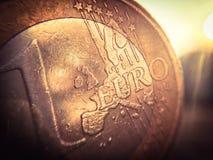 Un euro dettaglio della moneta Fotografia Stock Libera da Diritti