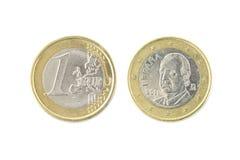 un euro plan rapproché de pièce de monnaie sur le blanc Photos libres de droits