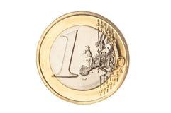 Un euro primo piano della moneta Fotografia Stock Libera da Diritti