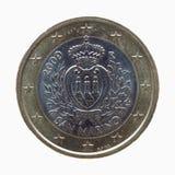 Un euro y x28; EUR& x29; moneda de San Marino Fotografía de archivo