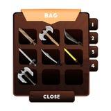 Un exemple de la fenêtre de jeu avec le choix des armes ou d'autres objets et des ressources dans un sac à dos pour des jeux d'or illustration libre de droits