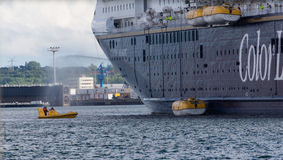 Un exercice de délivrance de mer sur Kiel Fjord, Kiel, Allemagne Images libres de droits