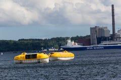 Un exercice de délivrance de mer sur Kiel Fjord, Kiel, Allemagne Photos stock