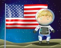 Un explorateur près du drapeau de l'Amérique illustration de vecteur