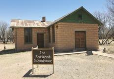Un Fairbank, Arizona, colpo della scuola della città fantasma Fotografie Stock