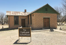 Un Fairbank, Arizona, tir d'école de ville fantôme Photos stock