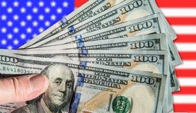 Un fan di 100 banconote in dollari Fotografia Stock Libera da Diritti