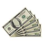 Un fan di cento banconote in dollari Fotografia Stock