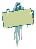 Fantôme effrayant avec le signe Images stock