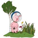 Un feliz cerdo en un traje de espacio que descansa sobre el césped ilustración del vector