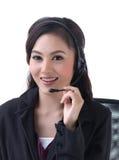 Un femme appelle avec l'écouteur Photo libre de droits
