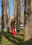 Un femme borgne et son guide Image libre de droits