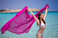 Un femme en mer Image libre de droits