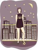 Un femme sur un fond de nuit étoilée Images libres de droits