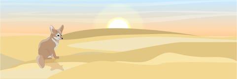 Un fennec abandonado del zorro se sienta en la arena stock de ilustración