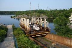 Un ferrocarril marino que transporta los barcos en muskoka Imagenes de archivo