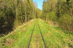 Un ferrocarril viejo en las maderas imagenes de archivo
